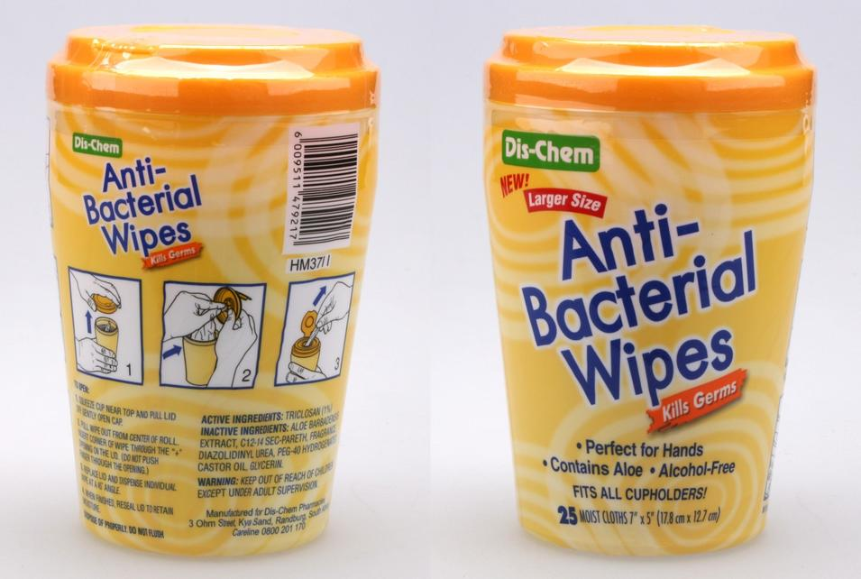 25pcs Antibacterial Wipes in tub