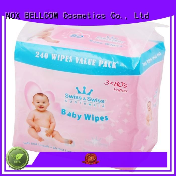 NOX BELLCOW Brand pure cotton biodegradable baby wipes