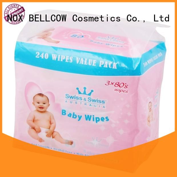 NOX BELLCOW 25pcs antibacterial baby wipes supplier for body